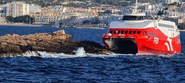 Ferry that struck an islet in Ibiza