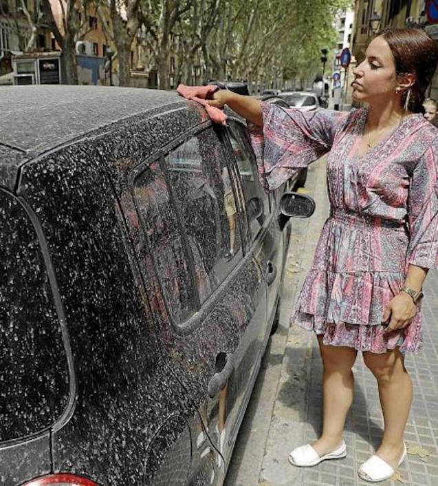 Woman wiping reddish dust off car.