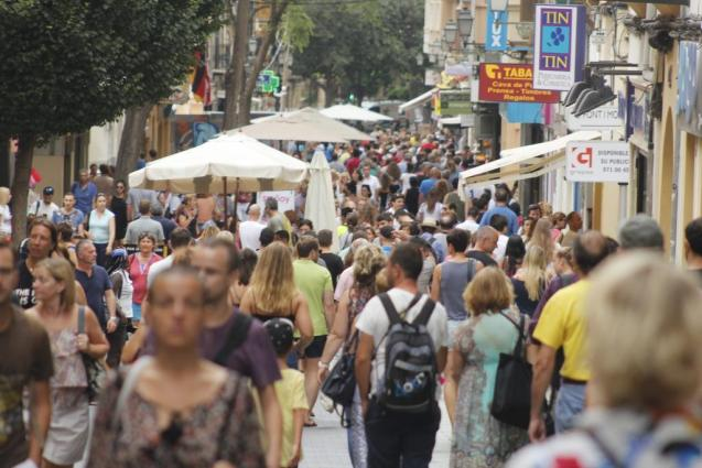 Crowds of people in Palma, Mallorca