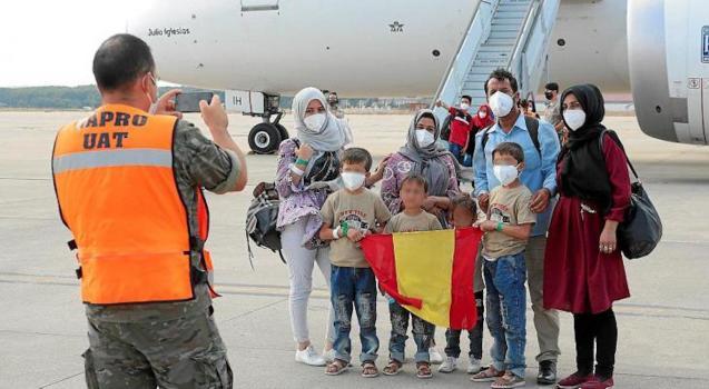 Afghan refugees at Torrejón de Ardoz air base, Madrid.