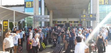 Overcrowding at the airport at the weekend.