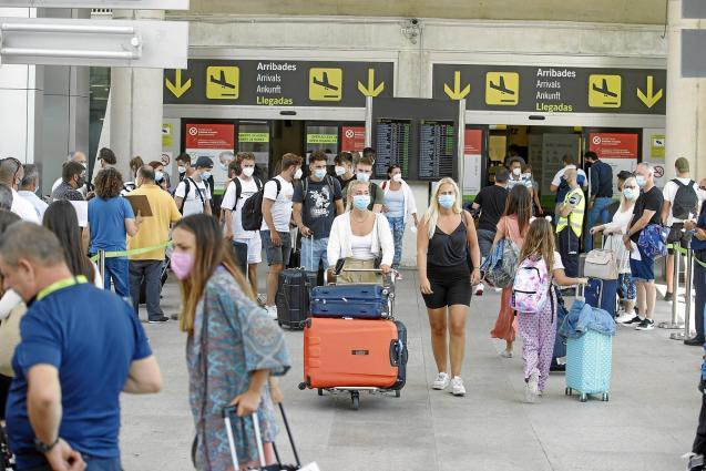 Tourists arriving at Palma Son Sant Joan Airport, Mallorca