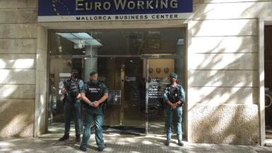 Guardia Civil officers during Wednesday's operation.