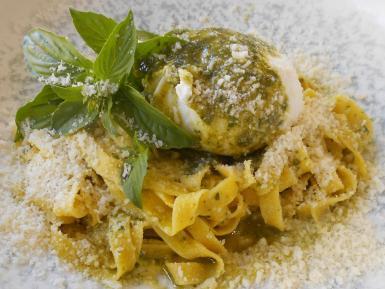 Michele's tagliatelle with pesto and a burrata.