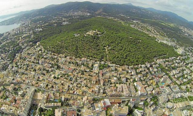 Aerial of Bellver Castle & forest, Palma.
