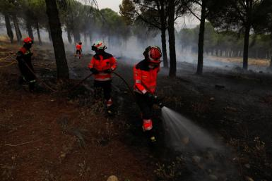 Firefighters extinguish a small wildfire in Ronda.