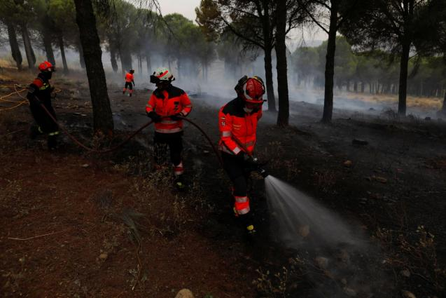 Firefighters extinguish a small wildfire in Ronda