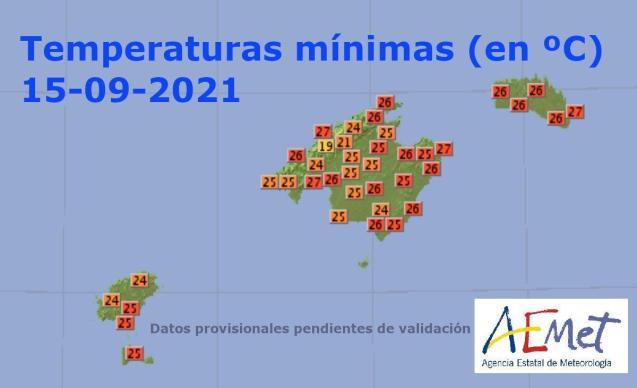 High overnight minimum temperatures in Mallorca