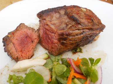 The 'vacio' steak was thickly cut and nicely pink.