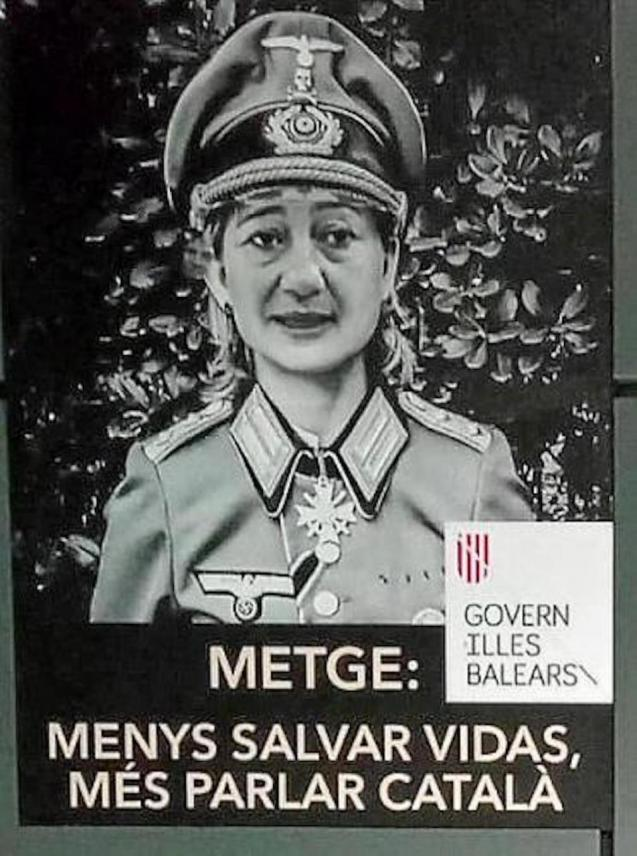 Nazi poster of Balearic President, Francina Armengol.