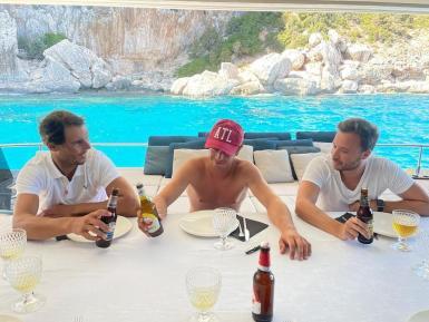 "Rafa Nadal on board his luxury yacht ""Great White""."