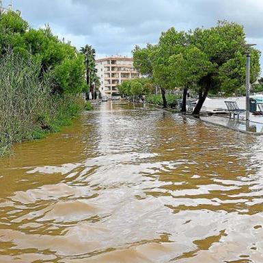 A lot of water is seen here at Estanys Petits, in Alcudia from Tuesday's flooding.