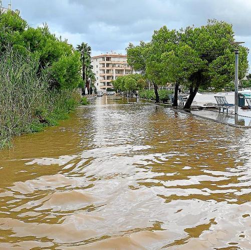 A lot of water is seen here at Estanys Petits, in Alcudia from Tuesday's flooding
