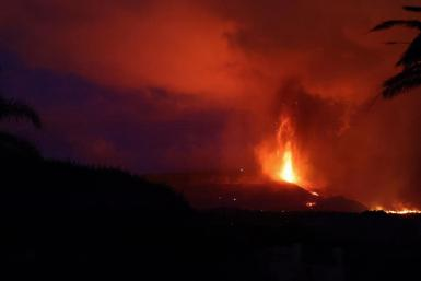 Eruption of a volcano in Spain.