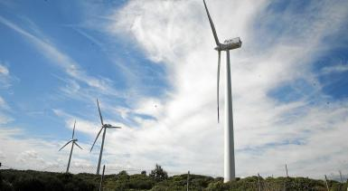 Land-based wind park in Es Milà, Minorca.
