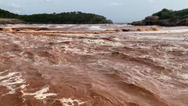 Extreme weather and flooding Platja S'Amarador & Cala Mondragó on Thursday, September 23, 2021. Sent by Stephan Otter.