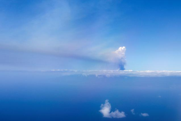 Airspace above the island remains open apart from two small areas near the eruption site.