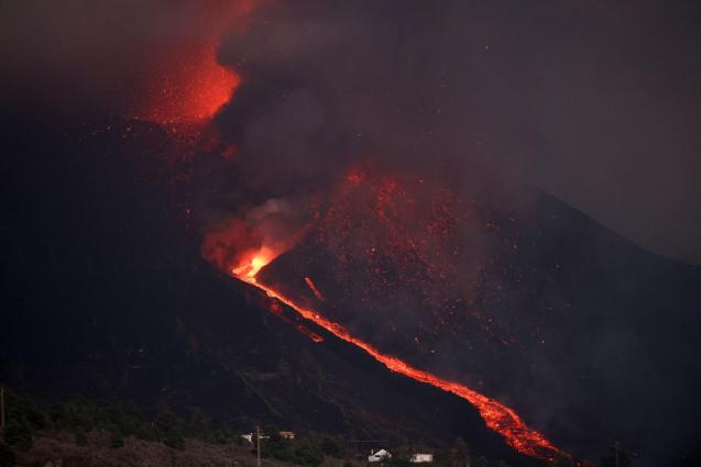 A new vent opened up in the flank of the volcano.