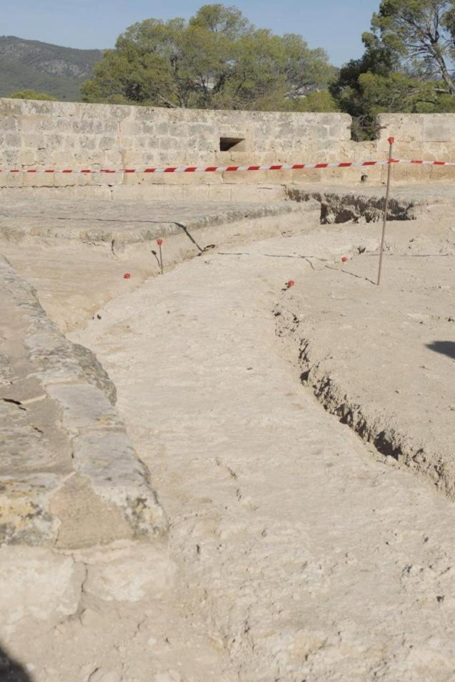 Medieval wall found at Bellver Castle, Palma.
