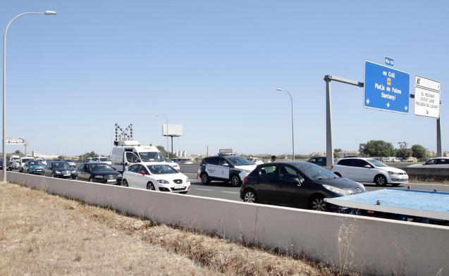 Traffic jam on the airport motorway