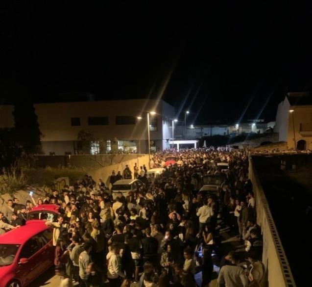 Illegal street party in Muro, Mallorca