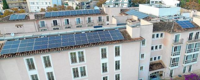 Solar panels on apartment building roofs.
