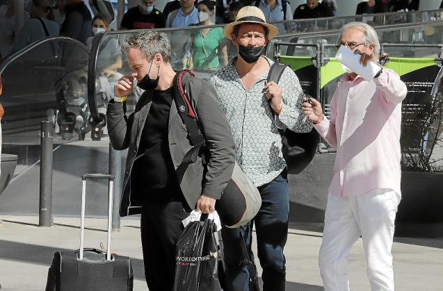 Dominic West and Jonny Lee Miller arriving to Palma for the filming of The Crown