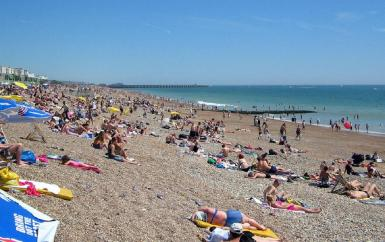 Brighton's beach, located on the south-east coast of England.