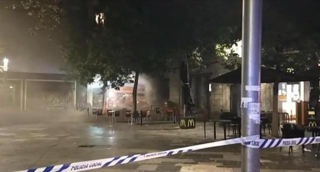 Burger King fire in Plaça d'Espanya, Palma.