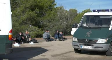 Migrants detained in the area of Cala Egos, Santanyi.