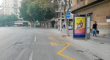 Empty taxi rank in Es Forti, Palma.
