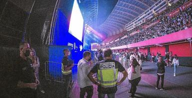Police at Visit Mallorca Estadi concert, Palma.