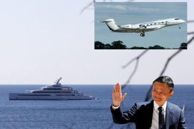 """Jack Ma with his superyacht """"Zen"""" and his private plane."""