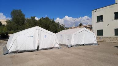 Two of the tents at Son Tous.