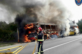 Another bus catches fire