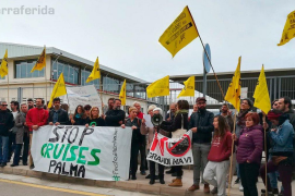 Small protest greets Symphony of the Seas