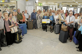 Spanish pensioner holidaymakers arriving in Majorca
