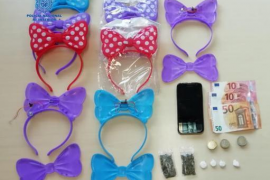 Drugs for street sale hidden with children's hairbands
