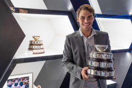 Rafa Nadal with the Davis Cup in Manacor