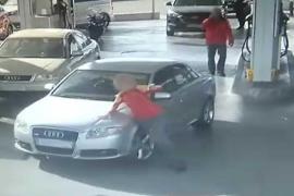 Run over at a petrol station