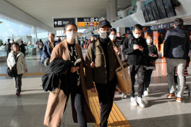Chinese passengers departing from Fiumicino airport for Guangzhou