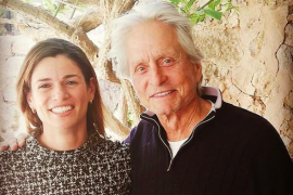 Michael Douglas with Ca'n Costa Restaurant owner, Natalia Moll.