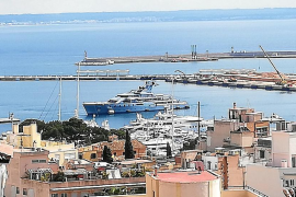 Superyachts trapped in Majorca