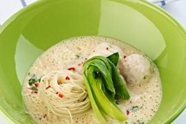 Coconut, chili & lime soup with spiced chicken dumplings