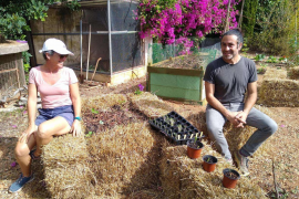 Permaculture: Raised Hugelkultur beds and Hay bale planting