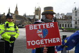 Pro EU campaigners demonstrate outside parliament in London