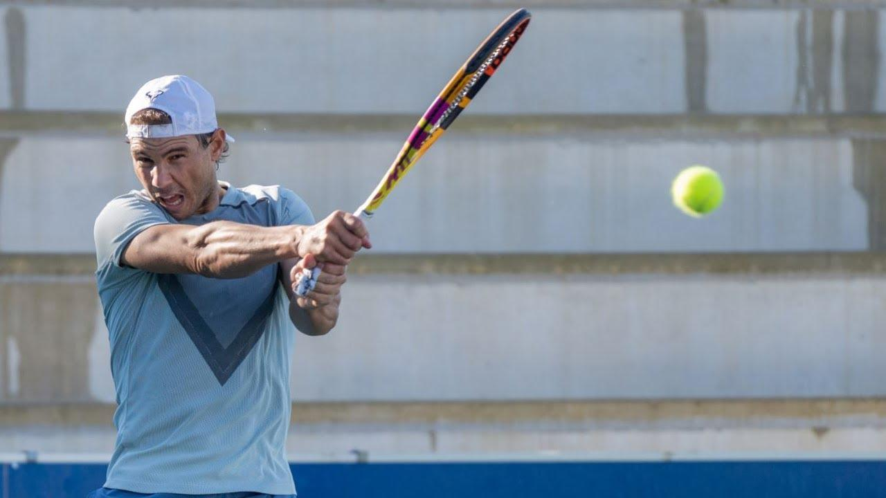 Nadal trains with several players at his Academy in Manacor