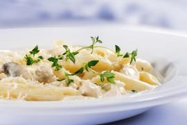 Penne pasta with Soufflé Suissesse