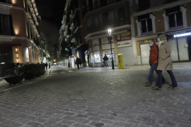 People in a square in Palma, Mallorca