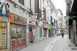 A near deserted shopping street in Palma, Mallorca